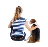 Dog and woman in studio Stock Image