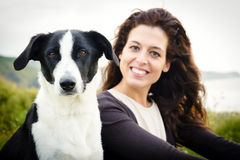 Dog and woman travel portrait Royalty Free Stock Photos