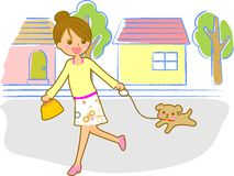 Dog and women. This is an illustration of a female Stock Image