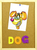 Dog word on a corkboard Royalty Free Stock Images