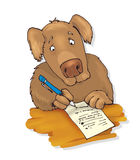 Dog writing letter Stock Images