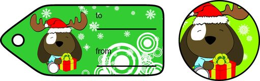 Dog xmas baby cartoon giftcard Stock Images