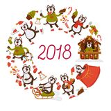 2018 New Year dog cartoon character celebrating holiday vector greeting card design. 2018 dog year cartoon poster or greeting card design template for Christmas Stock Photo