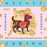 Dog year line coin eat card. This illustration is abstract dog year eat coin blessing your many money in card with pastel background calm down this emotion Royalty Free Stock Photos