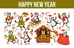 2018 Dog Year poster for Christmas or New Year winter holiday. Vector dog cartoon character in Santa hat with Xmas tree decorations celebrating with gifts bag Royalty Free Stock Photo