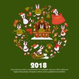 2018 Dog Year poster for Christmas or New Year winter holiday. Vector dog cartoon character in Santa hat with Xmas tree decorations celebrating with gifts bag Royalty Free Stock Photography