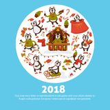 2018 Dog Year vector cartoon character poster for Christmas or New Year winter holiday Stock Photos