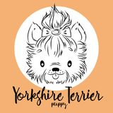Dog, yorkshire Terrier Puppy head isolated and inscription. Vector illustration, design element for cards, banners   Royalty Free Stock Photography