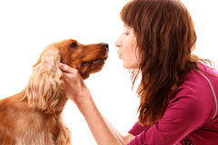 Dog  and young woman Stock Image
