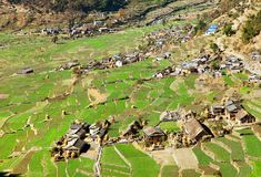 Dogadi village with terraced rice or paddy field Stock Photo
