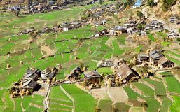 Dogadi village with terraced rice or paddy field Stock Images