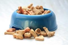 Dogbowl con i biscotti Fotografie Stock