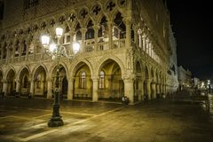 The Doge's Palace in golden lantern light in venice, italy at Royalty Free Stock Photo