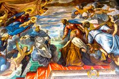 Dogeänglar som målar Palazzo Ducale Doge& x27; s-slott Venedig Italien Royaltyfria Foton