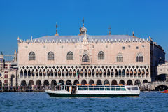 Doge palace with boats in Venice, Italy Royalty Free Stock Photos