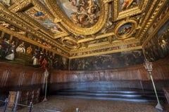Doge Palace Ceiling. Dazzling interior of Doge Palace. Venice, Italy stock image