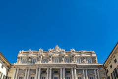 Doge Palace in Genoa. Neoclassical Facade of Doge`s Palace Palazzo Ducale in Genoa from piazza Matteotti Royalty Free Stock Photo