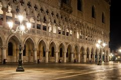 Doge Palace Venice Italy at night stock image