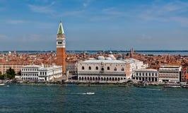 Doge Palace, San Marco Campanile, Venice, Italy. The Doge palazzo and Campanile, San Marco piazza in Venezia, Italia stock images