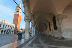 Doge's Palace Arcade and Piazza San Marco, Venice Stock Photos