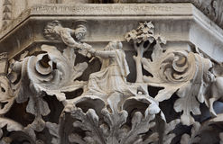 Doge's Palace beautiful capital. Medieval reliefs from Doge's Palace capital in Saint Mark Square, Venice Royalty Free Stock Images