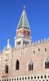 Doge's palace and bell tower of saint mark Stock Photos