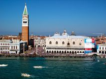 The Doge`s Palace, the Campanile, National Library of St Mark`s, in Venice, view from the canal stock image