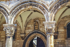 Doge's Palace in Dubrovnik-detail of the facade. One of the top example of medieval architecture, the Doge's Palace in Dubrovnik .. Located in the city center Royalty Free Stock Image