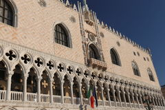 Doge's Palace and the italian flag in Venice Stock Photography