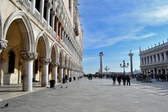Venice. The Doge's Palace (Italian: Palazzo Ducale) in Piazza San Marco is a palace built in Venetian Gothic style, and one of the main landmarks of the city of royalty free stock photos