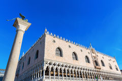 Doge`s Palace and Lion of Venice Column Stock Photo