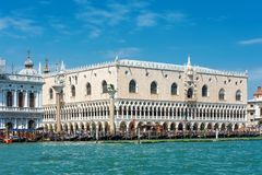 Doge`s Palace, or Palazzo Ducale, in Venice. Saint Mark`s Square with Doge`s Palace, or Palazzo Ducale, in Venice, Italy. This place is the main tourist royalty free stock photography