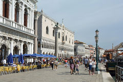 Doge's Palace at the Riva degli Schiavoni in Venice - Italy. Royalty Free Stock Image