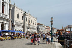 Doge's Palace at the Riva degli Schiavoni in Venice - Italy. Royalty Free Stock Photo