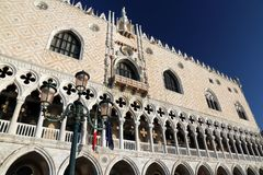 Doge's Palace and streetlamp in Venice Italy Royalty Free Stock Photo