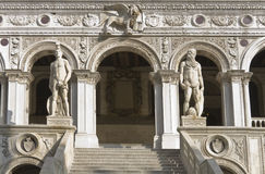 Doge's palace, Venice. The Stairs of the Giants in the Doge's Palace, close view Royalty Free Stock Photo