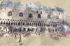 Doge s Palace in Venice - Palazzo Ducale on Piazza San Marco Stock Image