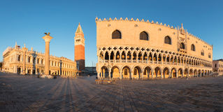 Doge`s palace in Venice. San Marco plaza in Venice at sunrise stock photography