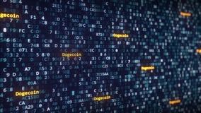 Dogecoin attribue un libelle apparaître parmi changer des symboles hexadécimaux sur un écran d'ordinateur rendu 3d Images libres de droits