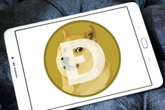Dogecoin Cryptocurrency logo Obraz Stock