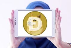 Dogecoin Cryptocurrency logo Royalty Free Stock Photo