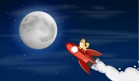 Free Dogecoin Dog Riding To The Moon Stock Images - 217538394