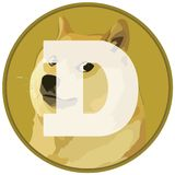 Dogecoin DOGE cryptocurrency icon on flag royalty free illustration