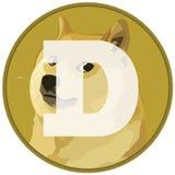 Dogecoin-DOGE cryptocurrency Ikone auf Flagge lizenzfreie abbildung