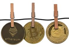 Free Dogecoin Hung With Bitcoin And Ethereum Royalty Free Stock Photos - 216818928