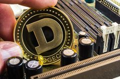 Dogecoin is a modern way of exchange and this crypto currency. Is a convenient means of payment in the financial stock photo