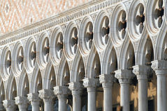 Doges palace. Italy, Venice: Doges palace facade with gothic architectural details stock photography