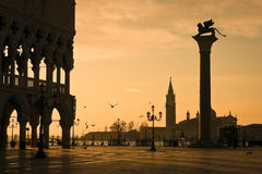 Doges Palace at dawn in Venice. Palazzo Ducale (Doges Palace) at dawn - Venice, Venezia, Italy, Europe royalty free stock photos