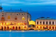Doges Palace and Ponte dei Sospiri, night, Venice. View from the sea to Venice with Doges Palace and Ponte dei Sospiri at night, Venice, Italy Stock Photos