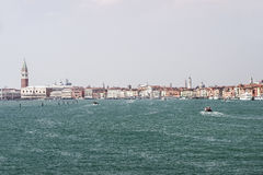 Doges palace, quays and water traffic in summer Venice Stock Image